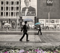 Umbrellas in front of SoftBank, Ginza, by Dean Chiang, Xyclopx