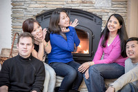 Ha, Kureisha, Sophia, Ben, and Quincy in front of Fireplace, by Dean Chiang, Xyclopx