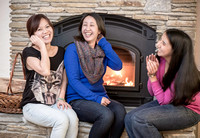 Ha, Kureisha, and Sophia in front of Fireplace #3, by Dean Chiang, Xyclopx