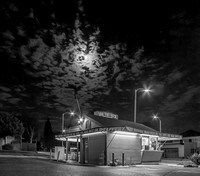 Clouds and Moon behind Los Victor's in Monrovia, CA, by Dean Chiang, Xyclopx